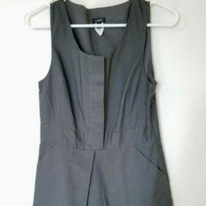 JCrew charcoal gray pleated sheath dress 6P